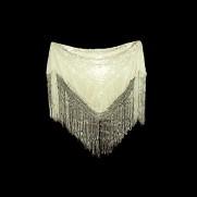 Mantón de Manila marfil bordado a mano en seda