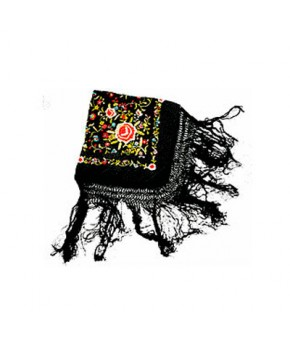 Mantón de Manila negro-colores bordado a mano en seda