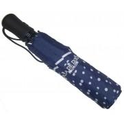 Paraguas plegable azul marino con lunares blancos.