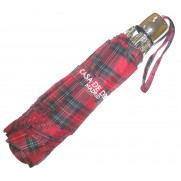 Paraguas plegable escocés rojo de acero.