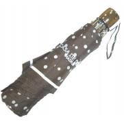 Paraguas plegable marrón con lunares blancos de acero.