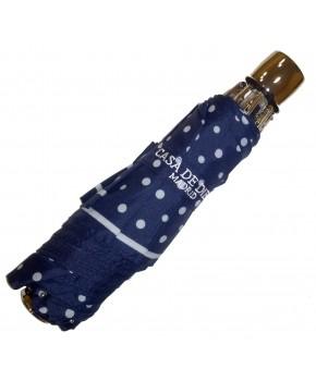 Paraguas plegable azul marino lunares blancos de acero.