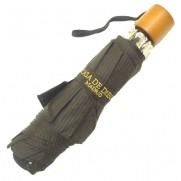 Paraguas plegable negro con raya diplomatica marrón.